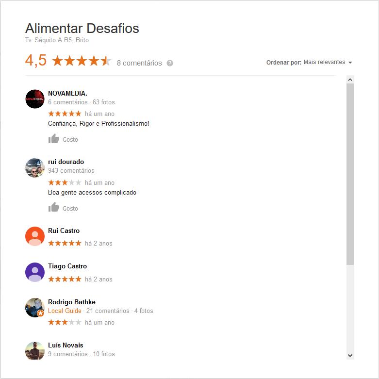 Opinião dos nossos clientes.